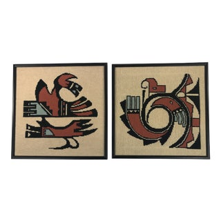 1980s Vintage Southwestern Needlepoint Wall Hangings - Set of 2 For Sale