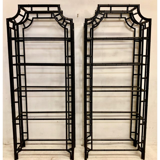 Pair of Lacquered Aluminum Faux Bamboo Pagoda Chippendale Style Etageres For Sale - Image 4 of 4