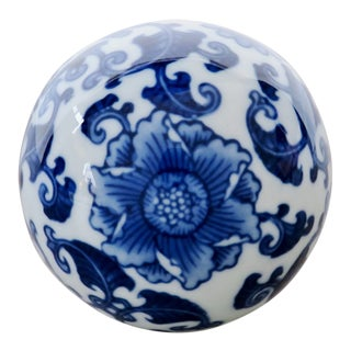 Vintage Blue on White Asian-style Porcelain Ball For Sale