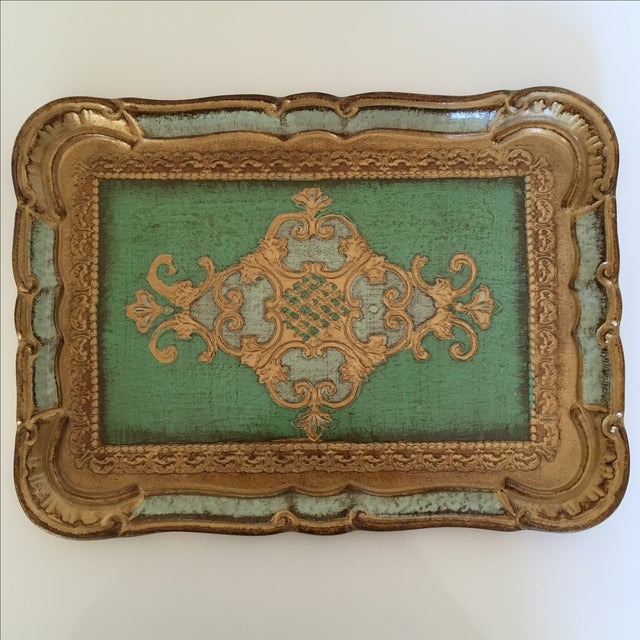 Green & Gold Italian Florentine Tray - Image 2 of 6