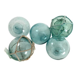 1960s Japanese Glass Fishing Floats - Set of 5 For Sale