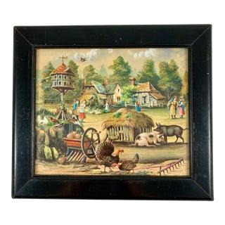 19th Century English Framed Decalomania Découpage & Watercolor Farm Scene For Sale