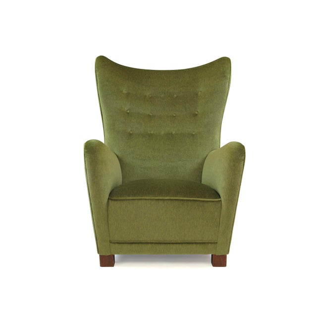 Art Deco 1942 Thorald Madsen for Fritz Hansen High Back Lounge Chair For Sale - Image 3 of 11