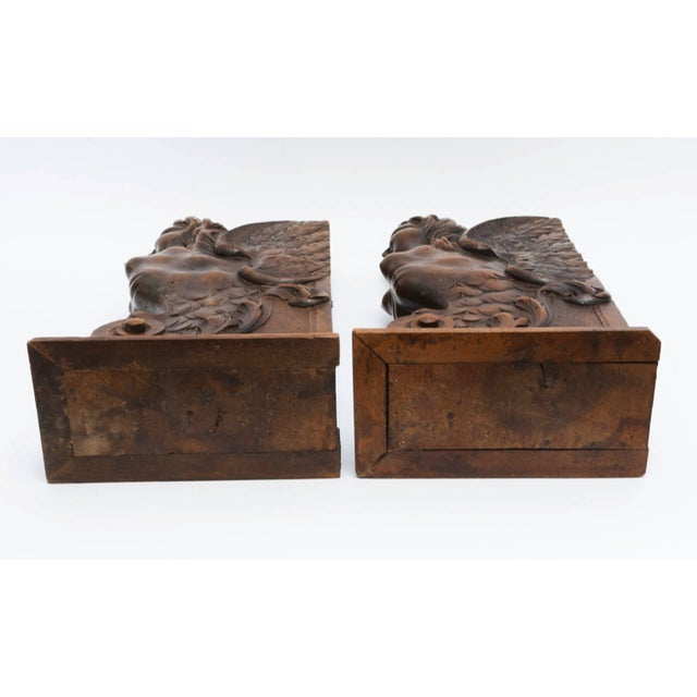 Wood Figurial Walnut Carved Bookends - a Pair For Sale - Image 7 of 11