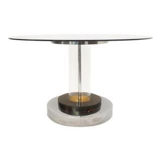 Round Table in Plexiglass, Brass and Chrome, 1970's For Sale
