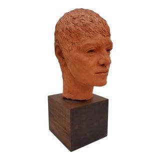 1970s Vintage Terracotta Female Bust Sculpture For Sale