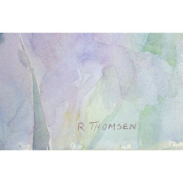 Exquisite watercolor rendering of irises by California artist, Richard Thomsen, who graduated from the Art Center College...