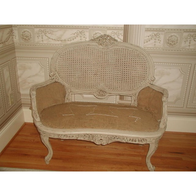 French 19th C. Hand Carved & Caned Settee - Image 2 of 10