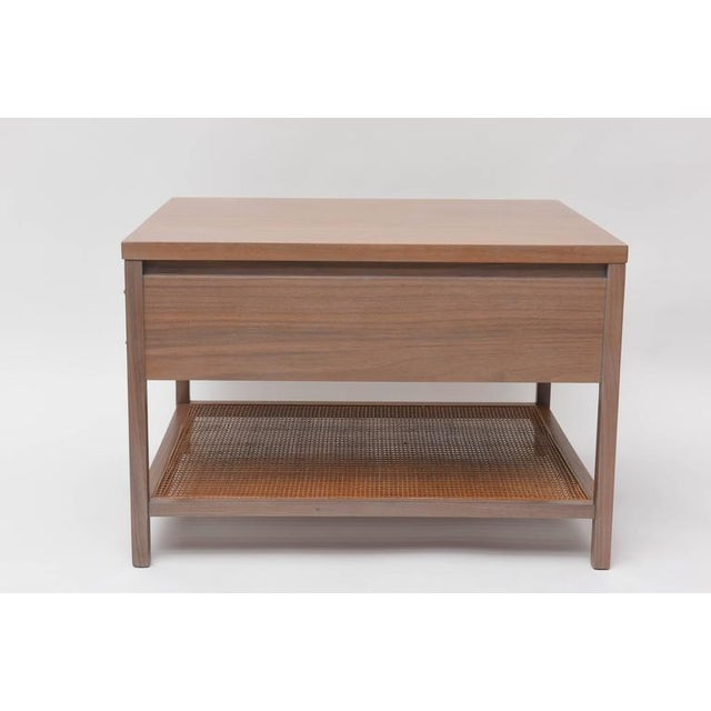 """Large side table by Paul McCobb for Calvin. We've re-finished the walnut frame in our signature """"greige"""", and left the..."""