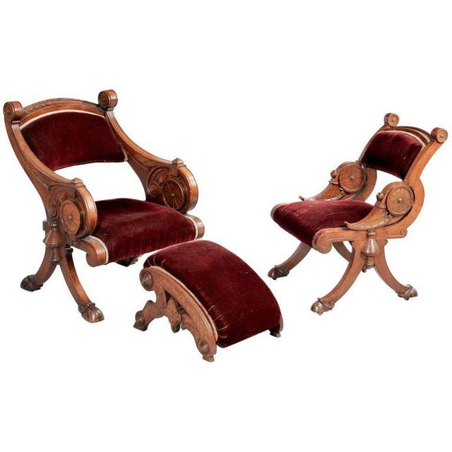 Two Renaissance Revival Chairs and a Foot Stool For Sale - Image 11 of 11