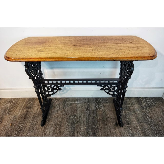 1900s Vintage French Iron and Walnut Bistro Table For Sale - Image 9 of 9