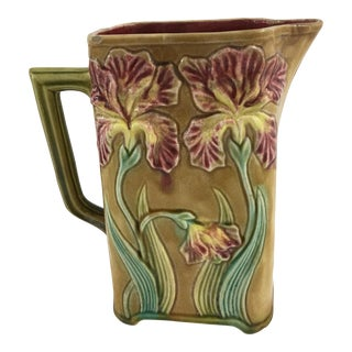 French Majolica Pitcher With Iris Motif For Sale