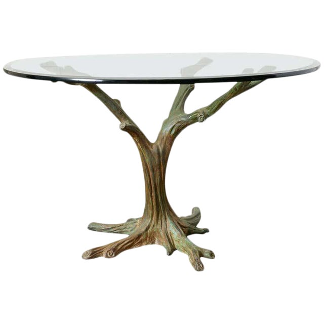 French Bronze Faux Bois Tree Sculpture Dining Table For Sale