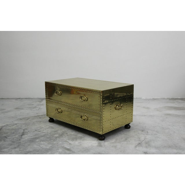 Brass Vintage 2 Drawer Brass Studded Coffee Table Chest Made in Spain by Sarreid For Sale - Image 7 of 7