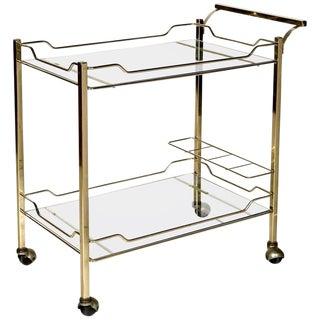 Mid-Century Modern Brass Rolling Bar Cart