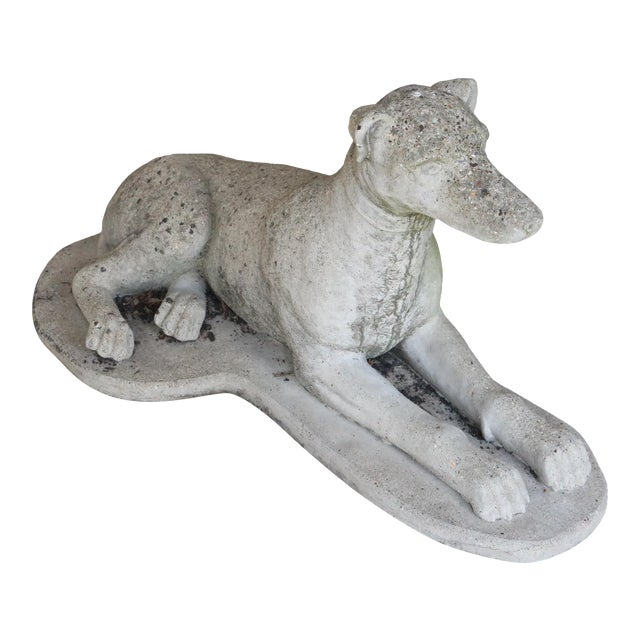 Early 20th Century Reclining Whippet English Cast Stone Garden Ornament For Sale