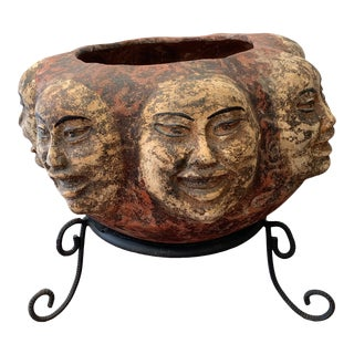 Terra-Cotta Asian Style Planter With Metal Stand For Sale
