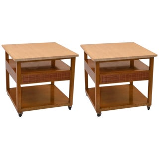 Pair of Probber Night Tables or End Tables With Marble Tops For Sale