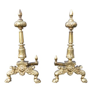 Vintage Louis XVI French Provincial Solid Brass Andirons - a Pair