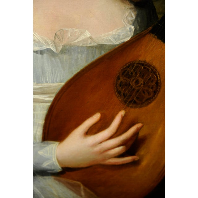 Late 18th Century John Singleton Copley -Girl Playing the Lute-18th Century Oil Painting For Sale - Image 5 of 12