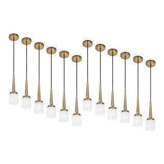 1960s Staff Leuchten Glass and Brass Pendants