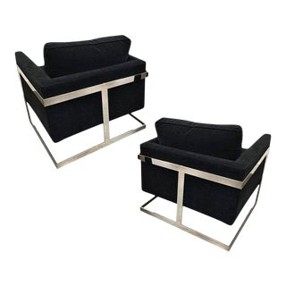 """Chrome & Velvet """"Cube"""" Chairs By Milo Baughman For Thayer Coggin - A Pair For Sale"""