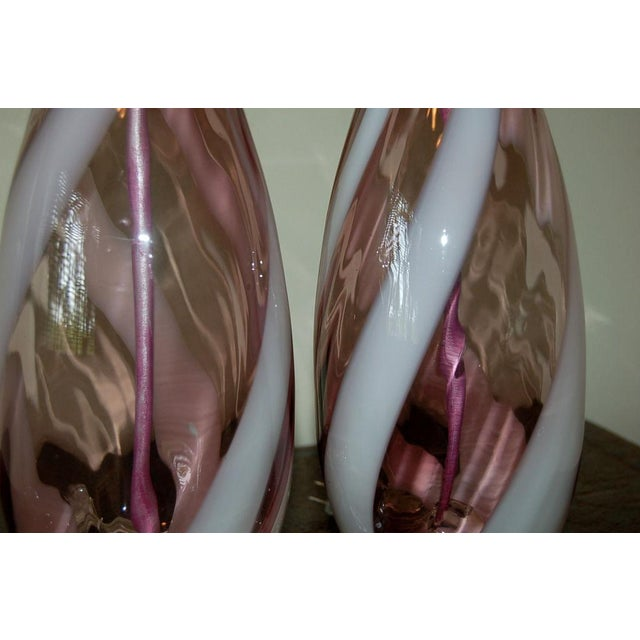Amethyst Vintage Italian Glass Table Lamps Purple White For Sale - Image 7 of 7