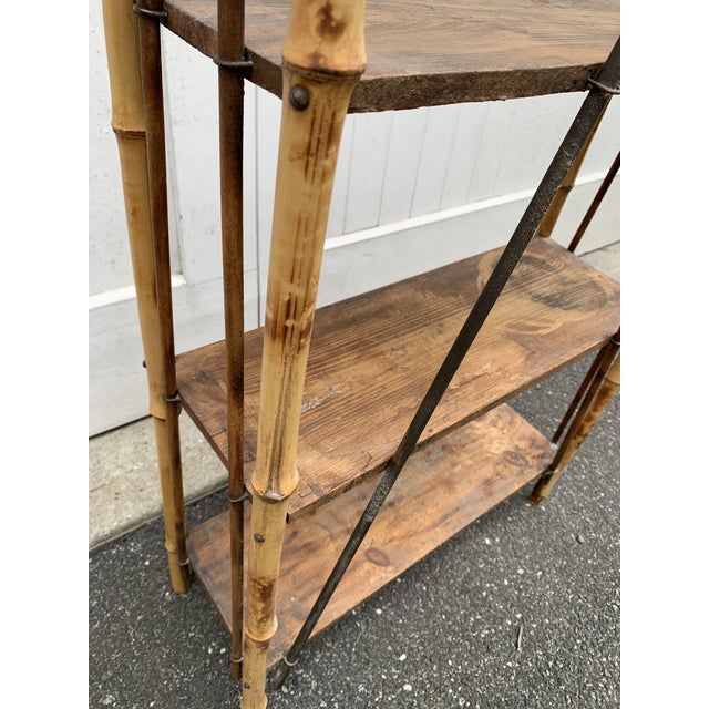 Wood Antique Burnt Bamboo Shelf For Sale - Image 7 of 13