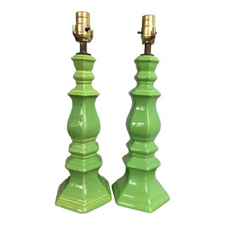 1960s Mid-Century Apple Green Glazed Ceramic Table Lamps - a Pair