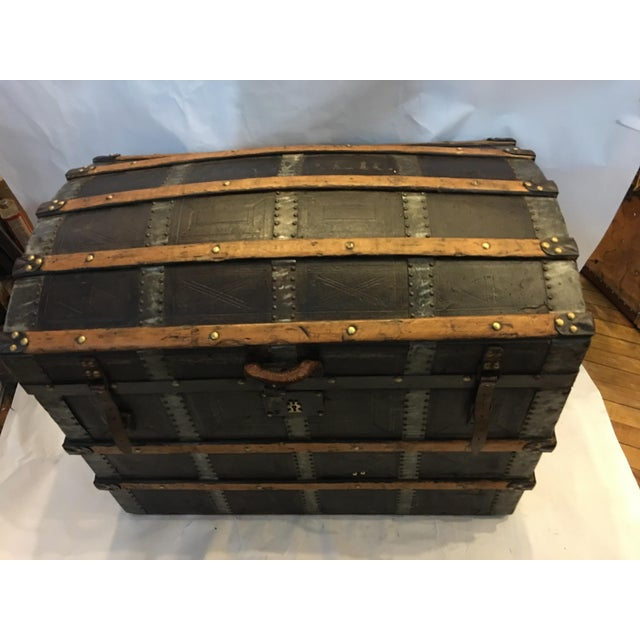 Late 19th Century Antique Leather & Wood French Dome Trunk For Sale - Image 5 of 11