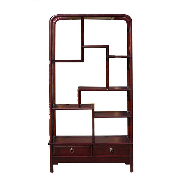 Oriental Uneven Open Curio Display Cabinet For Sale