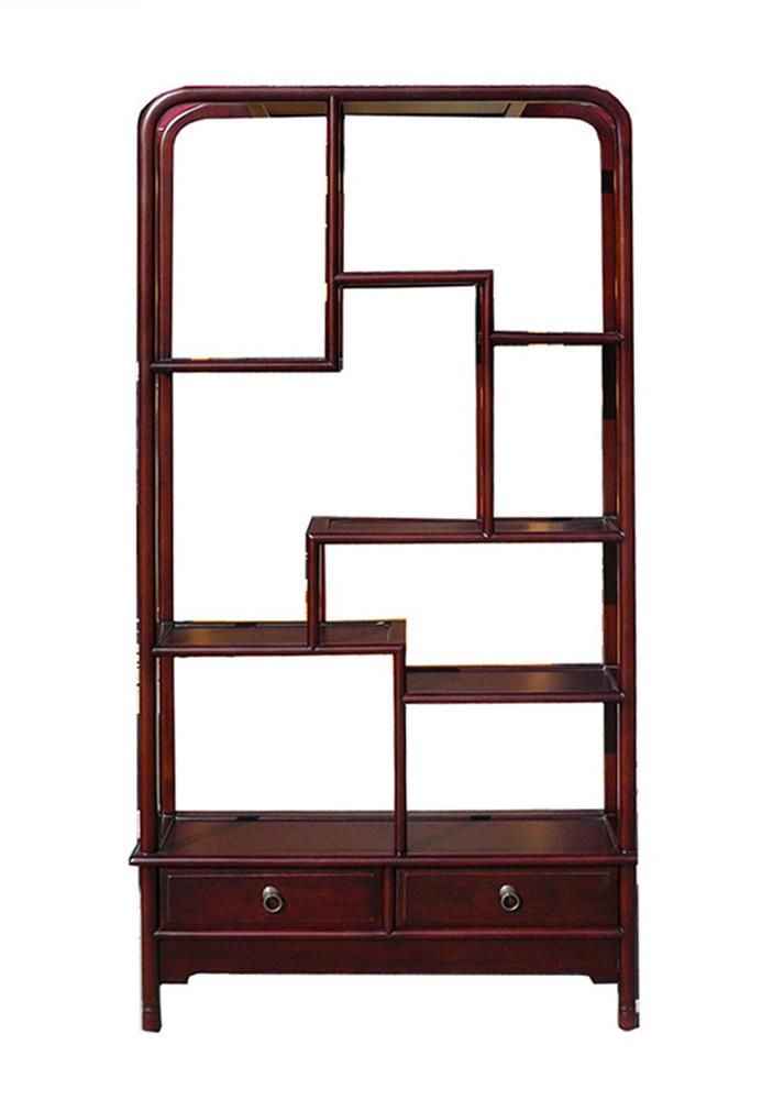Oriental Uneven Open Curio Display Cabinet