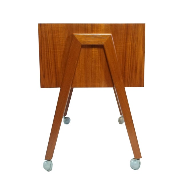 Danish Modern Sewing Table / Side Table For Sale - Image 4 of 9