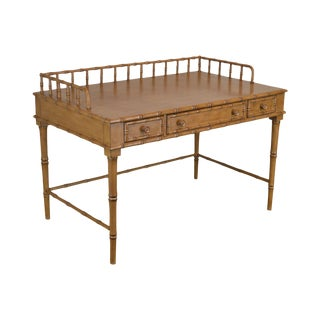 Faux Bamboo Custom Painted 3 Drawer Writing Desk For Sale