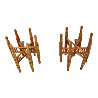 Antique Moroccan Carved Wood Tray Table Bases - a Pair For Sale