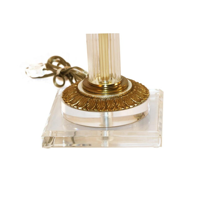 Metal Bauer Lamp Company Lucite Brass and Glass Table Lamp For Sale - Image 7 of 12