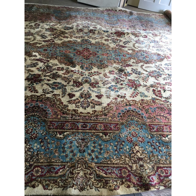 White Semi Antique Oversized Persian Kerman Rug - 12′ × 18′ For Sale - Image 8 of 12