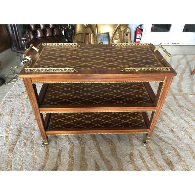 Italian Mixed Wood Inlay Bar Cart For Sale - Image 13 of 13