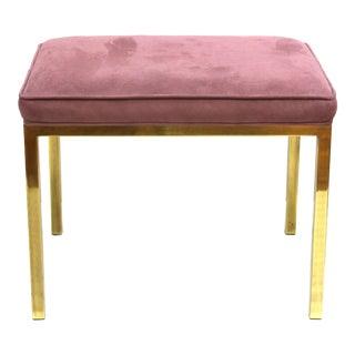 Mastercraft Diminutive Upholstered Brass Bench For Sale