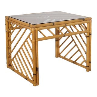 Bamboo Open Fretwork Side Table With Glass Top For Sale