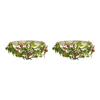 Pair of Strawberry Tole Flush Mount Fixtures