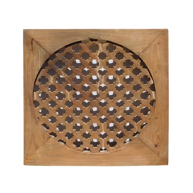 Chinese Rustic Flower Star Geometric Wood Panel For Sale - Image 5 of 6