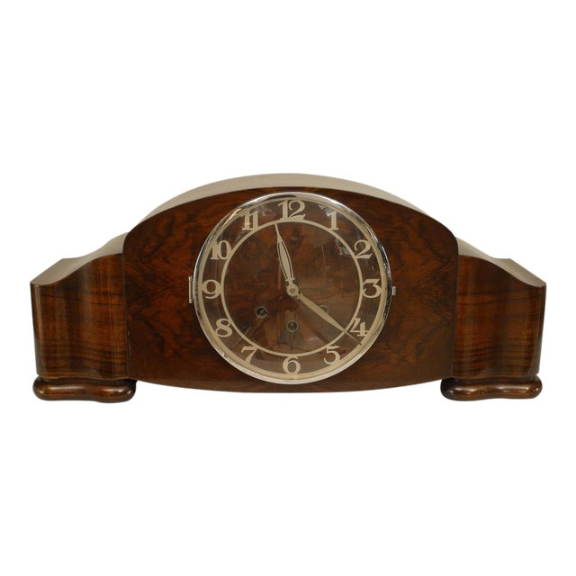 German Art Deco Walnut Mantel Clock For Sale