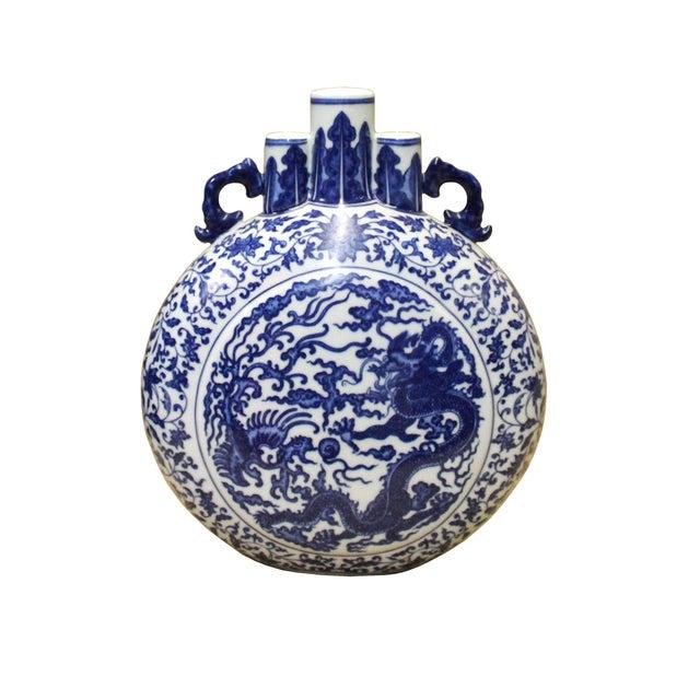 Blue Chinese Blue White Porcelain Dragon Phoenix Theme Flask Vase For Sale - Image 8 of 8