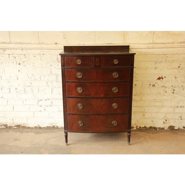 Early American Flame Mahogany Highboy Dresser - Image 3 of 9