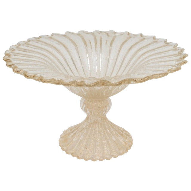 Gold Flecks Murano Glass Footed Compote For Sale