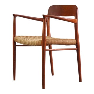 Niels Moller for Model No. 75 Side Armchair in Teak w/ Papercord for J.L. Møllers Møbelfabrik, Denmark For Sale