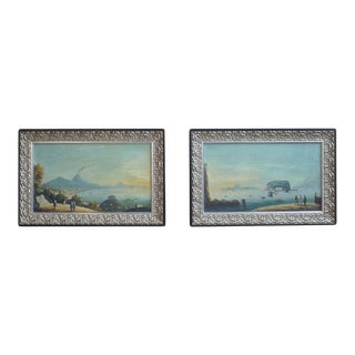 Circa 19th Century Italian Harbor Scenes of the Gulf of Naples - a Pair For Sale