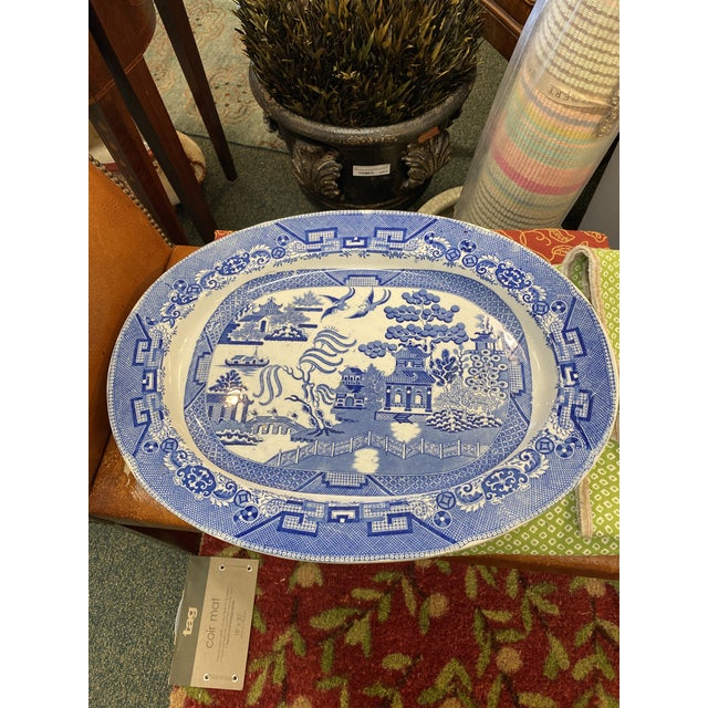 Oversized English Blue Willow Platter For Sale - Image 6 of 6