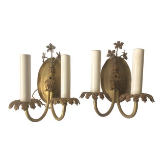 Antique Petite Polished Tole Wall Sconces - a Pair For Sale